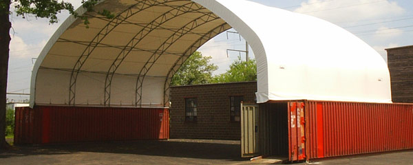 ISO Shipping Containers as Fabric Structure Foundation